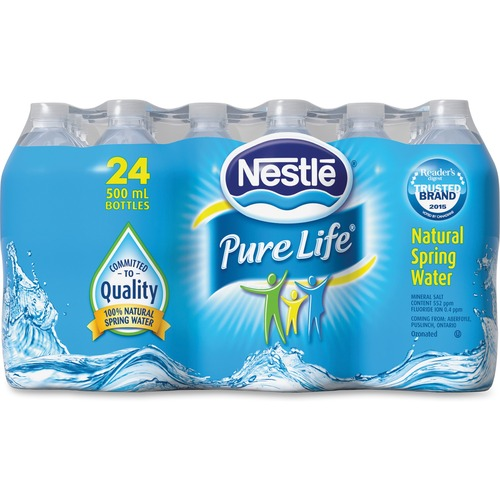 Nestle Pure Life Natural Spring Water 24/Case - Ready-to-Drink - 500 mL - 226.8 g - Bottle -