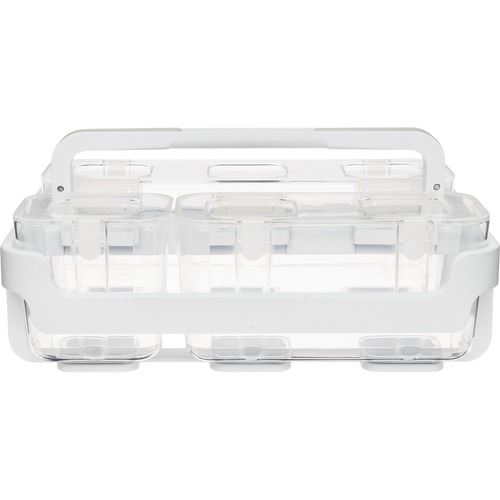 """Deflecto Stackable Caddy Organizer - 6.4"""" Height x 14"""" Width x 10.1"""" Depth - White - Plastic - 1 Each"""