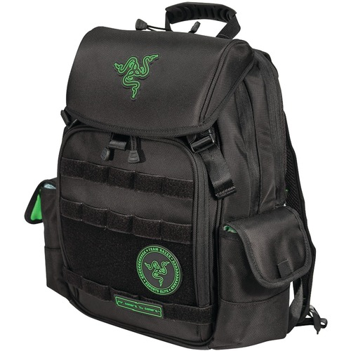 "Razer Tactical Backpack - 15"" - Black. Designed to take a beating, the Razer Backpack is made from the same materials used for military flak jackets ? thick, tightly woven robust ballistic nylon. Its water-resistant, scratch and tear-proof exterior effort"