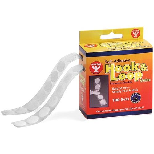 "Hygloss Hook & Loop Fastener - 0.63"" (15.9 mm) Dia - 100 Set - White"