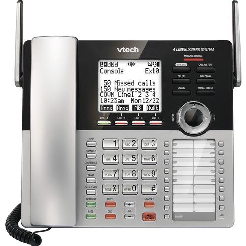 VTech CM18245 DECT 6.0 Standard Phone - Black - 4 x Phone Line - Speakerphone - Answering Machine - Hearing Aid Compatible