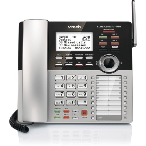 VTech DECT 6.0 Cordless Phone - Gray, Silver - 4 x Phone Line - Speakerphone - Answering Machine - Hearing Aid Compatible
