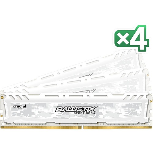 Ballistix Sport LT RAM Module - 64 GB 4 x 16 GB - DDR4 SDRAM - 2400 MHz DDR4-2400/PC4-19200 - 1.20 V - Non-ECC - Unbuffered - CL17 - 288-pin - DIMM