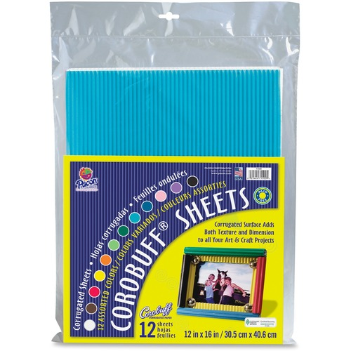 """Corobuff Corrugated Sheets - Art Project - 12"""" (304.80 mm)Width x 16"""" (406.40 mm)Length - 12 / Pack - Assorted"""