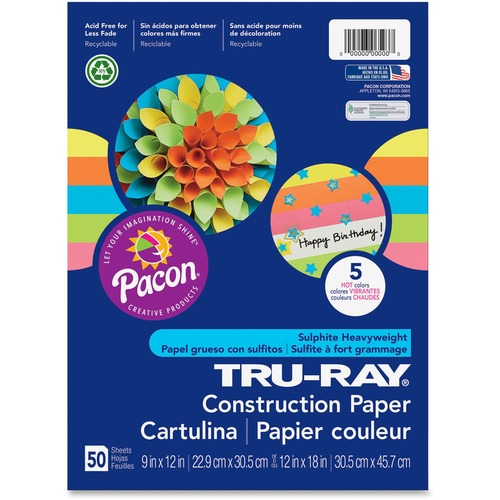 """Tru-Ray Construction Paper - Art Project - 12"""" (304.80 mm)Width x 9"""" (228.60 mm)Length - 50 / Pack - Assorted - Sulphite, Paper"""