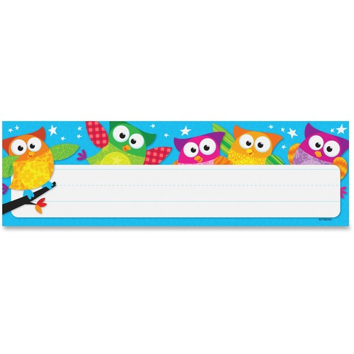 """Trend Owl-Stars! Desk Toppers Nameplates - Learning Theme/Subject - Colorful Owls, White Stars - 2.88"""" (73 mm) Height x 9.50"""" (241.3 mm) Width - Multicolor - 36 / Pack"""