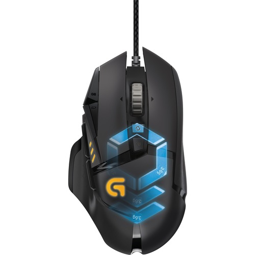 Logitech Proteus Spectrum G502 Mouse - Delta Zero - Cable - 11 Buttons - USB - 12000 dpi - Computer - Tilt Wheel - Right-handed Only