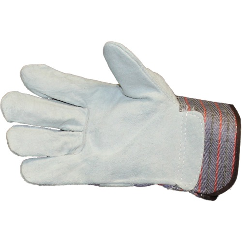 ProGuard Leather Palm with Safety Cuff - Large Size - Leather Palm, Cotton Liner, Canvas Back, Leather Fingertip - Gray, Blue - Safety Cuff, Knuckle Strap - For Material Handling, General Purpose, Automotive, Assembling, Manufacturing, Furniture Handling