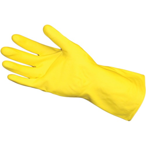ProGuard Flock Lined Latex Heavyweight - Chemical Protection - Medium Size - Latex - Yellow - Embossed Grip, Abrasion Resistant, Detergent Resistant, Acid Resistant, Alkali Resistant, Oil Resistant, Germs-free, Fat Resistant, Flock-lined, Heavyweight - Fo