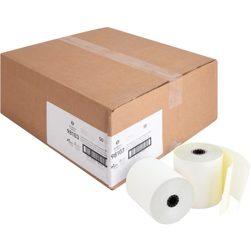 """Business Source Carbonless Paper - White - 3"""" x 90 ft - 50 / Carton"""