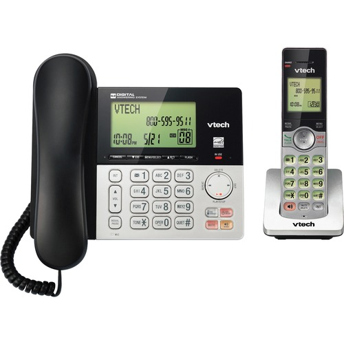 VTech CS6949 DECT 6.0 Standard Phone - Black, Silver - Cordless - Corded - 1 x Phone Line - Speakerphone - Answering Machine - Hearing Aid Compatible