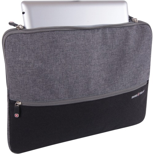 """SwissGear Carrying Case (Sleeve) for 14"""" Notebook - Gray, Black - Scratch Resistant Interior - Polyester - 1 Pack"""