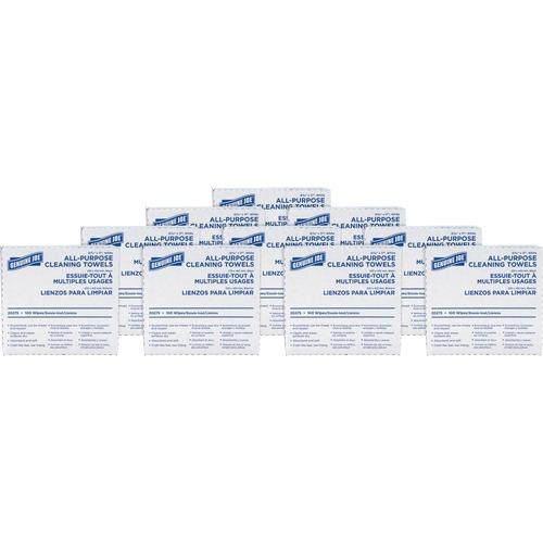 "Genuine Joe All-Purpose Cleaning Towels - 17"" x 9.50"" - White - Fabric - Absorbent, Medium Duty, Reusable - For Multipurpose - 100 Per Box - 1000 / Carton"