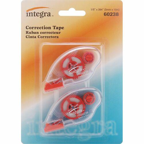 Integra Correction Tape - 2 Dispensers/PK - Holds Total 1 Tape(s) - White