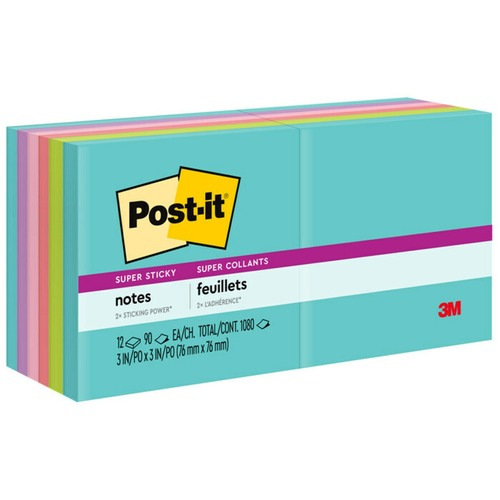 """Post-it® Super Sticky Notes - Miami Color Collection - 1080 x Multicolor - 3"""" x 3"""" - Rectangle - 90 Sheets per Pad - Multicolor - Paper - Self-adhesive, Recyclable - 12 / Pack"""