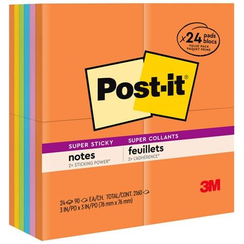 """Post-it® Super Sticky Notes - Rio de Janeiro Color Collection - 1680 x Multicolor - 3"""" x 3"""" - Square - 70 Sheets per Pad - Multicolor - Paper - Se"""