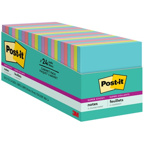 """Post-it® Super Sticky Notes - Miami Color Collection - 1680 x Multicolor - 3"""" x 3"""" - Rectangle - 70 Sheets per Pad - Multicolor - Paper - Self-adhesive, Recyclable - 24 / Pack"""