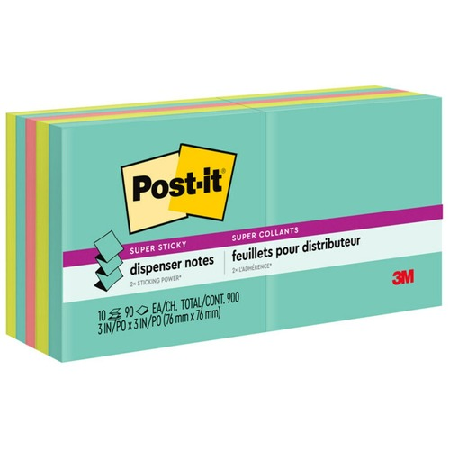 """Post-it® Super Sticky Pop-up Notes - Miami Color Collection - 900 x Multicolor - 3"""" x 3"""" - Rectangle - 90 Sheets per Pad - Multicolor - Paper - Self-adhesive, Removable, Recyclable - 10 / Pack"""