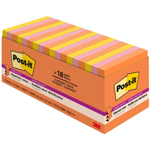 """Post-it® Super Sticky Pop-up Notes - Rio de Janeiro Color Collection - 3"""" x 3"""" - Rectangle - Multicolor - Paper - Self-adhesive, Removable, Recycl"""