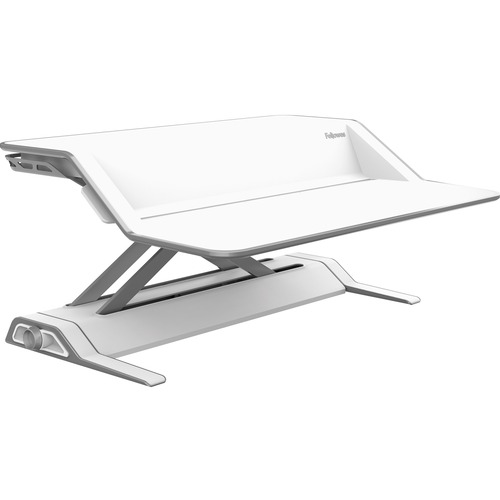 """Fellowes Lotus™ Sit-Stand Workstation - White - 15.88 kg Load Capacity - 1 x Shelf(ves) - 5.50"""" (139.70 mm) Height x 32.75"""" (831.85 mm) Width x"""