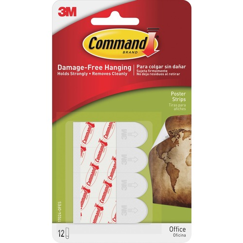 """Command Small Poster Strips - 1.75"""" Length x 0.63"""" Width - 31.3 mil Thickness - Foam - 12 / Pack - White"""