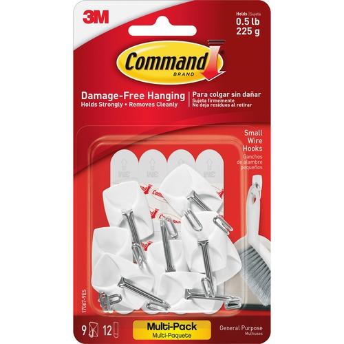 Command Small Wire Hooks Value Pack - 8 oz (226.8 g) Capacity - for Utensil - Plastic - White - 9 / Pack