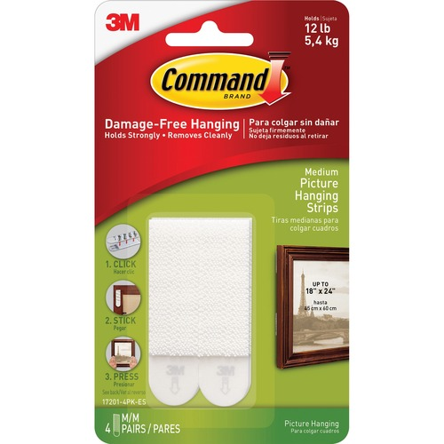 """Command Medium Picture Hanging Strips - 2.75"""" Length x 0.63"""" Width - 100 mil Thickness - Foam - 8 / Pack - White"""