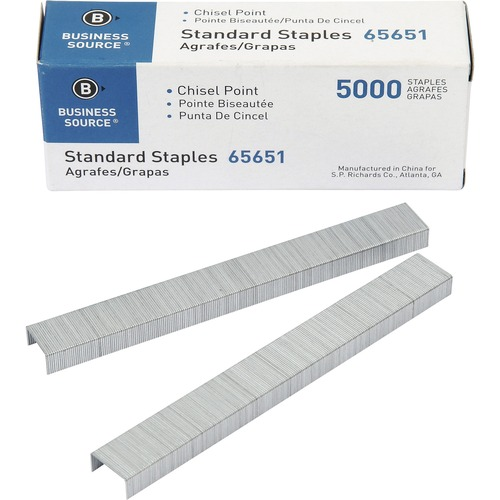 "Business Source Chisel Point Standard Staples - 210 Per Strip - Standard - 1/4"" Leg - 1/2"" Crown - Holds 30 Sheet(s) - for Paper - Chisel Point - Silv"