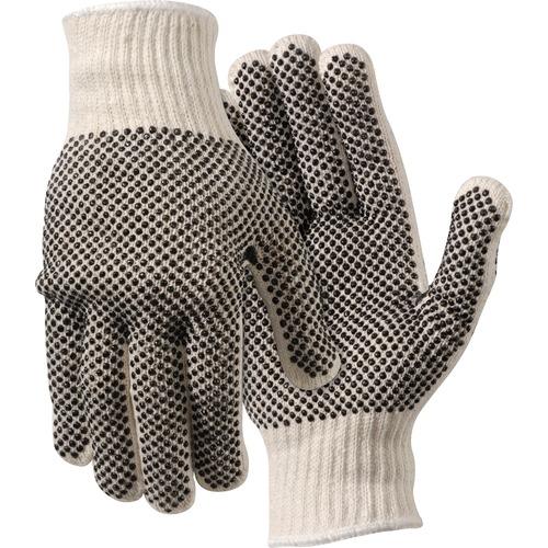 MCR Safety Poly/Cotton Large Work Gloves - Dirt, Debris Protection - Large Size - Poly Cotton, Polyvinyl Chloride (PVC) Dot - White - Ambidextrous, Elastic Wrist, Knit Wrist - 2 / Pair