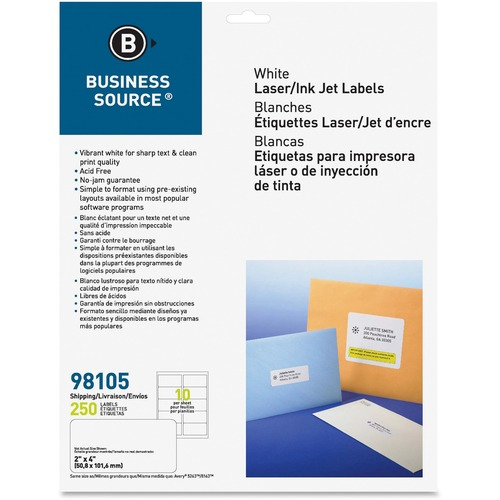 """Business Source Bright White Premium-quality Shipping Labels - 4"""" x 2"""" Length - Permanent Adhesive - Laser, Inkjet - Bright White - 10 / Sheet - 25 Total Sheets - 250 / Pack"""