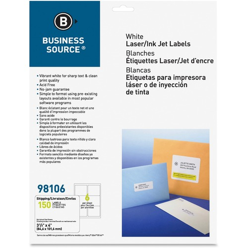 """Business Source Bright White Premium-quality Address Labels - 3 19/64"""" x 4"""" Length - Permanent Adhesive - Laser, Inkjet - Bright White - 6 / Sheet - 25 Total Sheets - 150 / Pack"""