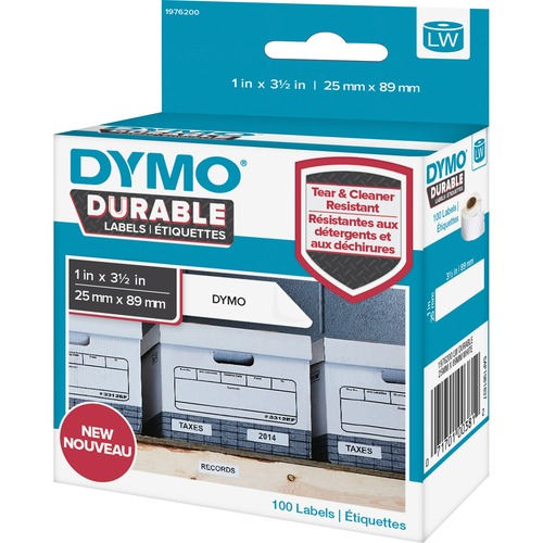 """Dymo LabelWriter Labels - 1"""" x 3 1/2"""" Length - Round - White - 100 / Roll"""