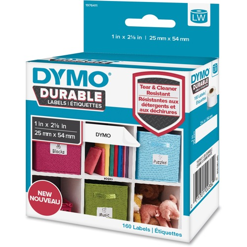 """Dymo LabelWriter Labels - 1"""" Width x 2 1/8"""" Length - Permanent Adhesive - Thermal Transfer - White - Plastic, Polypropylene - 160 / Roll"""