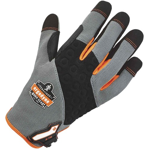 ProFlex 710 Heavy-Duty Utility Gloves - 11 Size Number - XXL Size - Neoprene Knuckle, Poly - Black, Gray - Heavy Duty, Padded Palm, Reinforced Palm Pad, Reinforced Fingertip, Reinforced Saddle, Hook & Loop Closure, Pull-on Tab, Abrasion Resistant, Machine