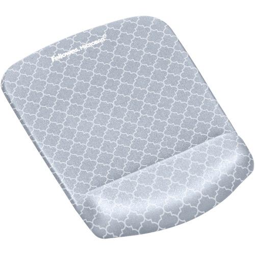 "Fellowes PlushTouch™ Mouse Pad Wrist Rest with Microban® - Gray Lattice - Lattice - 1"" x 7.3"" x 9.4"" Dimension - Gray, White - Foam - Wear R"