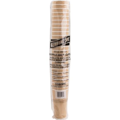 Genuine Joe Ripple Hot Cups - 591.47 mL - 25 / Pack - Brown - Hot Drink