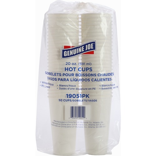 Genuine Joe Disposable Hot Cup - 591.47 mL - 50 / Pack - White - Coffee, Hot Drink