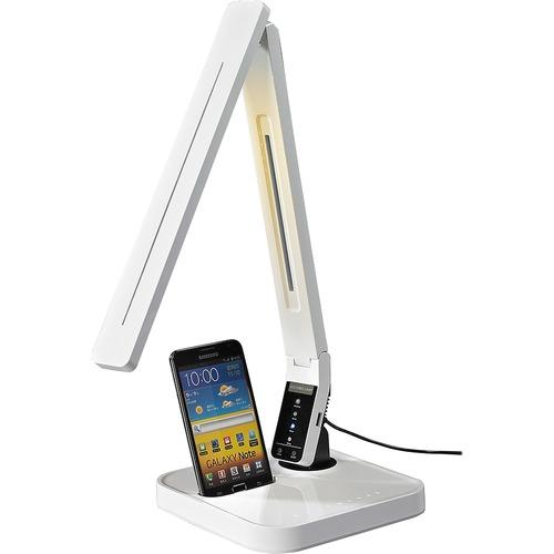 Lorell Micro USB Charger LED Desk Lamp - LED - White - Desk Mountable - for Desk, Table