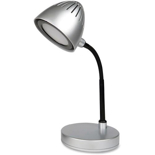 Lorell Silver Shade LED Desk Lamp - 200 Lumens - Silver - Desk Mountable - for Desk, Table