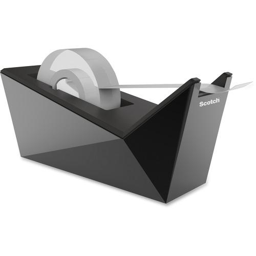 "Scotch Desktop Tape Dispenser - 1"" (25.40 mm) Core - Refillable - Metallic Black - 1 Each"