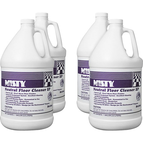 MISTY Neutral Floor Cleaner - Concentrate - Lemon Scent - 4 / Carton - Green