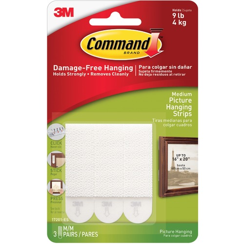 """Command Medium Picture Hanging Strips - 2"""" Length x 0.75"""" Width - Foam - 3 / Pack - White"""