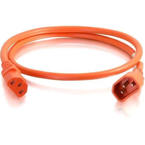 C2G 6ft 14AWG Power Cord (IEC320C14 to IEC320C13) | Orange