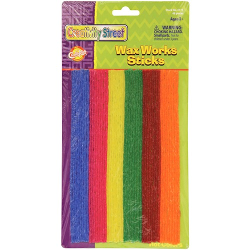 """Wax Works Wax Works Hot Colors Sticks Assortment - Art - Recommended For 3 Year - 6"""" (152.40 mm)Height x 8"""" (203.20 mm)Length - 48 / Pack - Assorted"""