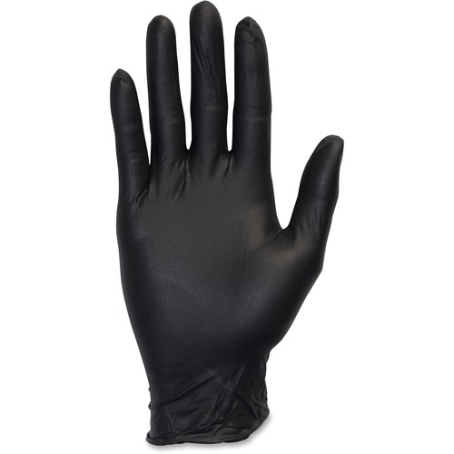 Safety Zone Medical Nitrile Exam Gloves - Large Size - Nitrile - Black - Powder-free, Comfortable, Allergen-free, Silicone-free, Latex-free, Textured,