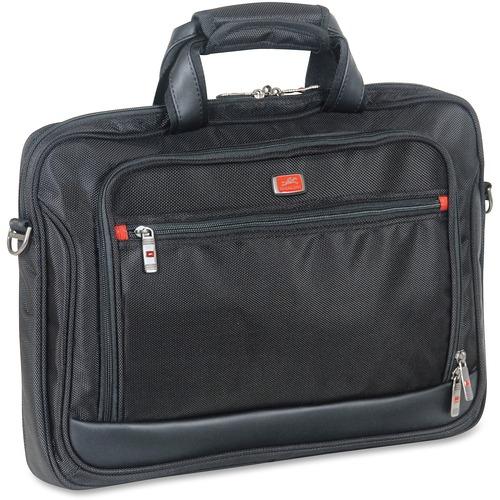 "MANCINI Biztech Carrying Case (Briefcase) for 17.3"" Notebook - Black - Bump Resistant, Scratch Resistant, Slip Resistant - 1680D Ballistic Nylon - Shoulder Strap - 12"" (304.80 mm) Height x 16.25"" (412.75 mm) Width x 1.75"" (44.45 mm) Depth - 1 Pack"