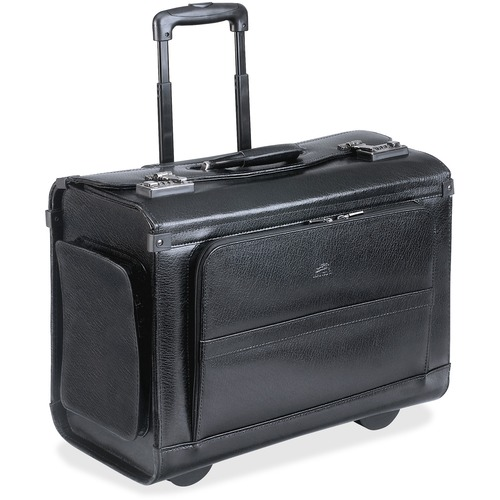 """MANCINI Carrying Case (Roller) for 17"""" Notebook - Black - Genuine Leather - Handle - 13"""" (330.20 mm) Height x 17"""" (431.80 mm) Width x 8.50"""" (215.90 mm) Depth - 1 Pack"""
