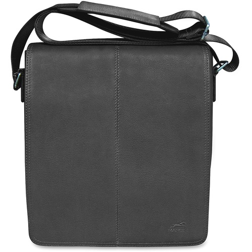 """MANCINI COLOMBIAN Carrying Case (Messenger) Tablet - Black - Colombian Leather - Shoulder Strap - 10.25"""" (260.35 mm) Height x 12"""" (304.80 mm) Width x 3"""" (76.20 mm) Depth - 1 Pack"""