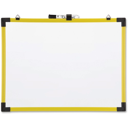 """Quartet Dry Erase Board - 36"""" (3 ft) Width x 24"""" (2 ft) Height - Yellow Plastic Frame - Rectangle - Mount - 1 Each"""