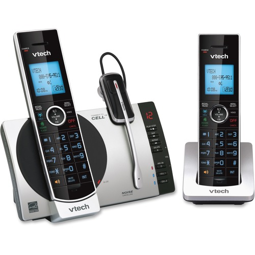 VTech Connect to Cell DS6771-3 DECT 6.0 Cordless Phone - Black, Silver - Cordless - Corded - 1 x Phone Line - 2 x Handset - Speakerphone - Answering Machine - Hearing Aid Compatible